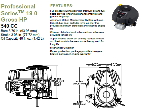!9 HP  professional series fetures